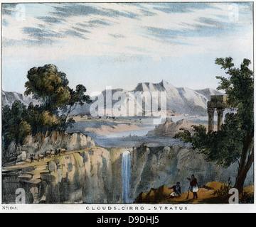 Cirro-Stratus clouds, often seen preceding rain. Coloured lithograph 1845. - Stock Photo