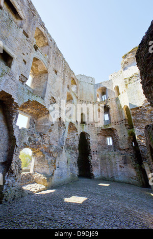 The interior of Nunney Castle ruins, built in the 1370s, near Frome, Somerset, England, UK - Stock Photo
