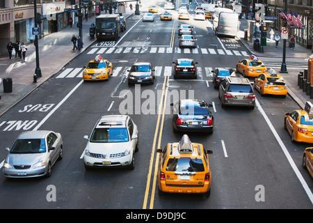 Traffic on 42nd Street New York, USA - Stock Photo