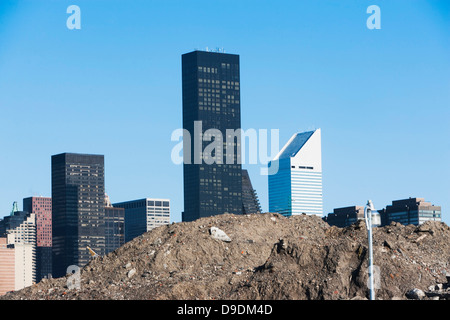 Trump World Tower behind pile of soil in New York City, USA - Stock Photo
