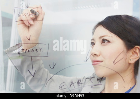 Woman writing on glass with marker pen - Stock Photo