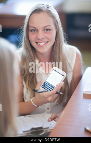 Student showing calculations - Stock Photo