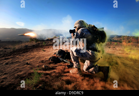 U.S. Marines Corps Cpl. Barrett Helzer from Alpha Company, 1st Battalion, 1st Marine Regiment, 1st Marine Division - Stock Photo