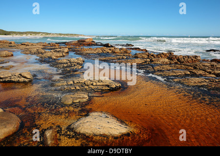 Tannin colored water at the mouth of a mountain stream running into Scarborough beach, Cape Town, Western Cape, - Stock Photo