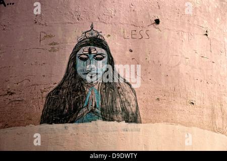 Shiva god painted on a wall. Varanasi, Benares, Uttar Pradesh, India - Stock Photo
