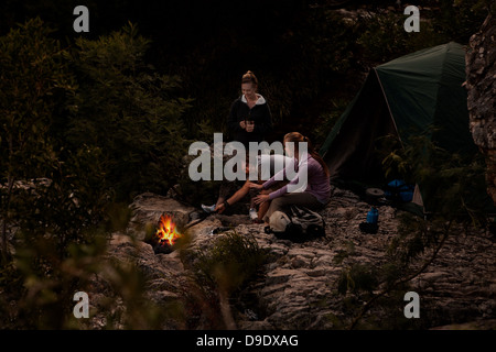 Group of young people in front of campfire - Stock Photo