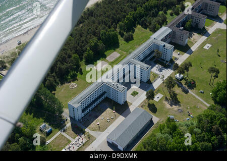 A view of the youth hostle in block 5 of the listed building complex Prora on the island of Ruegen, Germany, 5 June - Stock Photo