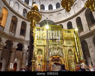 Grave of Christ in the Church of Holy Sepulchre in Jerusalem, Israel - Stock Photo