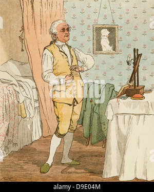 'An Elegy on the Death of a Mad Dog'' by Oliver Goldsmith.   The good man of Islington  dressing.  Illustration - Stock Photo