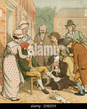 'An Elegy on the Death of a Mad Dog'' by Oliver Goldsmith.   Neighbours dressing  the good man of Islington's bite.. - Stock Photo