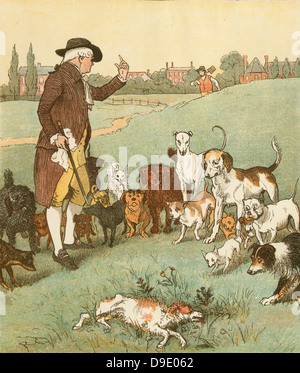'An Elegy on the Death of a Mad Dog'' by Oliver Goldsmith.   The dog it was that died.  Illustration by Randolph - Stock Photo
