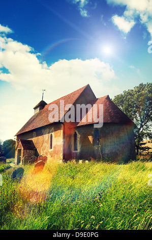 sunshine rural church - Stock Photo