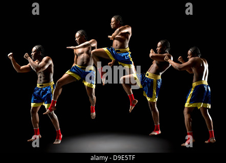 Multiple exposure of young male boxer - Stock Photo