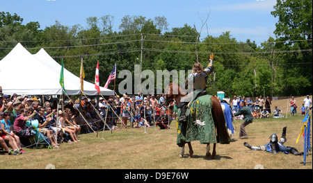 SALINE, MI - JULY 14: Victorious jouster acknowledges crowd at the Saline Celtic Festival July 14, 2012 in Saline, - Stock Photo