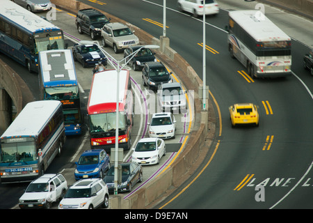 TRAFFIC APPROACH RAMP LINCOLN TUNNEL WEEHAWKEN NEW JERSEY USA - Stock Photo
