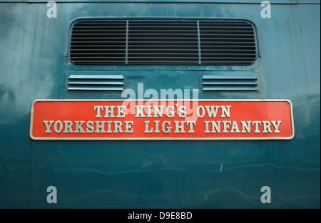 Deltic 55002 nameplate, The King's Own Yorkshire Light Infantry - Stock Photo