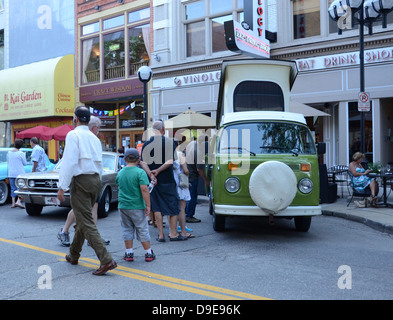 VolkswagernnCamper at the Rolling Sculpture car show July 13, 2012 in Ann Arbor, Michigan - Stock Photo