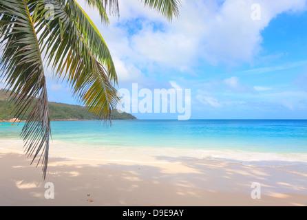 Deserted beach Anse Lazio on the island of Praslin, Seychelles - Stock Photo