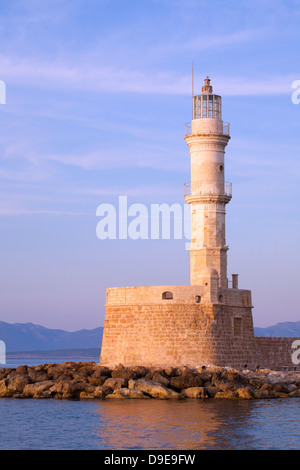 Chania's centuries old lighthouse in Venetian Harbour - Stock Photo