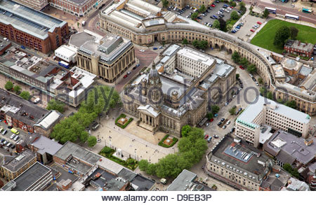 aerial view of Bolton Town Hall - Stock Photo