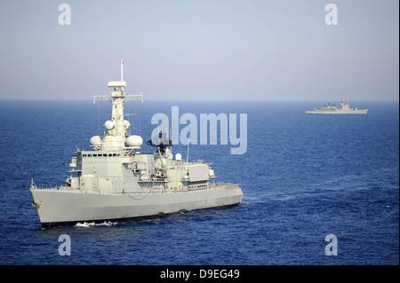 Portuguese navy frigate NRP Bartolomeu Dias in transit in the Mediterranean Sea. - Stock Photo