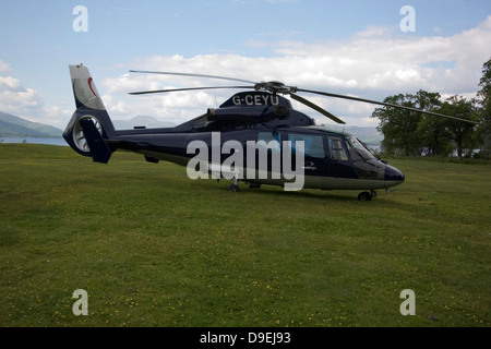 Blue 1988 Eurocopter AS365 Dauphin N1 Helicopter - Stock Photo