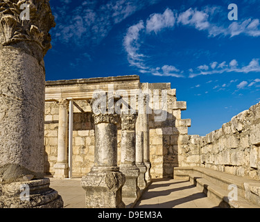 White Synagogue in Capernaum at the Sea of Galilee, Israel - Stock Photo