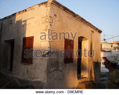 background building closeup corner details exterior facade home house housing near nobody residence residential - Stock Photo