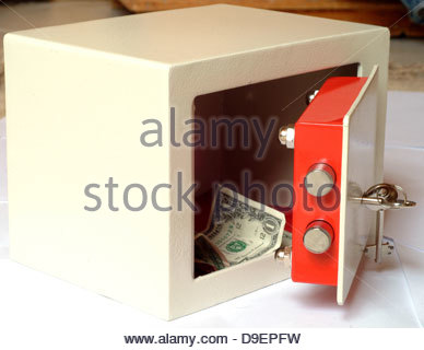 account box business cash concept currency deposit dollar home insurance money open protection safe safety savings - Stock Photo