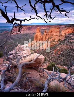 Prominent rock croppings as seen from Rim Drive in Colorado National Monument near Grand Junction in Colorado - Stock Photo