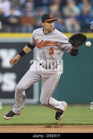 Detroit, Michigan, USA. 18th June, 2013. June 18, 2013: Baltimore Orioles infielder Ryan Flaherty (3) during MLB - Stock Photo