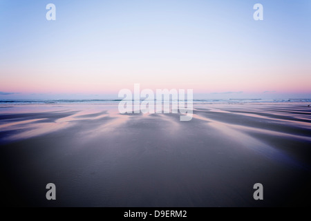 Sunrise Piha Beach - early morning on a deserted beach with soft light, a lot of copy space. Piha, Auckland, New - Stock Photo
