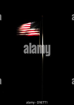 August 25, 2011 - The American flag flies over Naval Station Guantanamo Bay, Cuba. - Stock Photo