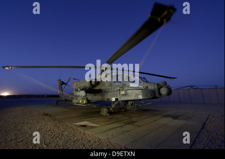 A U.S. Army AH-64D Apache helicopter at Shindand Air Base, Afghanistan. Stock Photo