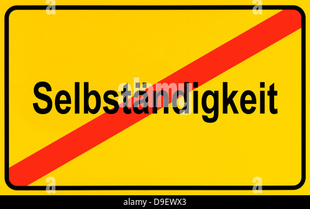 Sign Local end as a symbolic picture for the end of independence - Stock Photo