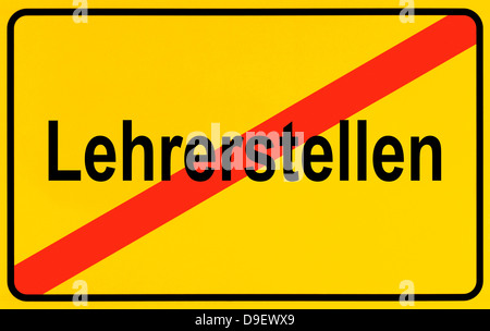 Sign Local end as a symbolic picture for cancelation of teacher places - Stock Photo