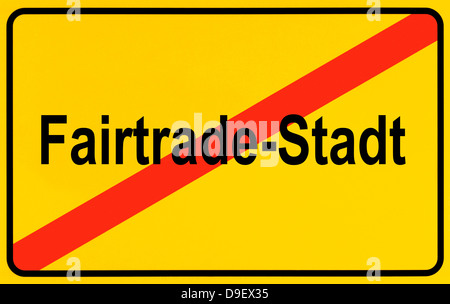 Sign Local sign Local end as a symbolic picture for the end Fairtrade - Stock Photo