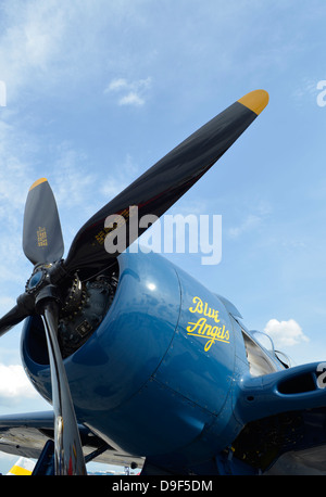 Low angle view of the propeller on a F8F Bearcat.