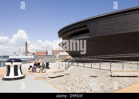 The Mary Rose Museum, Portsmouth, United Kingdom. Architect: Wilkinson Eyre Architects , 2013. External view of - Stock Photo