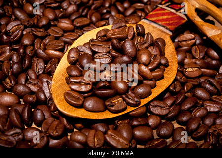 Fresh roasted coffee beans on a wooden spoon, Freshly roasted coffee beans on a wooden spoon - Stock Photo