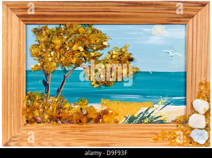 Sea oil hamdmade landscape from amber in wooden pine frame isolated - Stock Photo