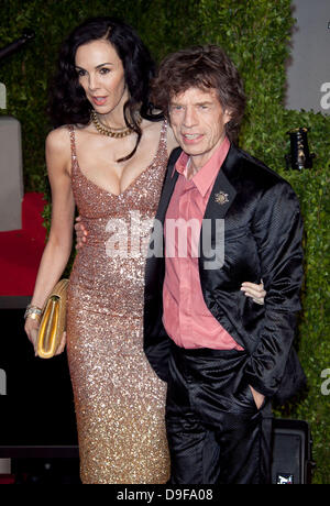 L'Wren Scott and Mick Jagger 2011 Vanity Fair Oscar Party at Sunset Tower Hotel - Arrivals  West Hollywood, California - Stock Photo