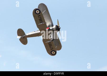Gloster Gladiator I in flight - Stock Photo