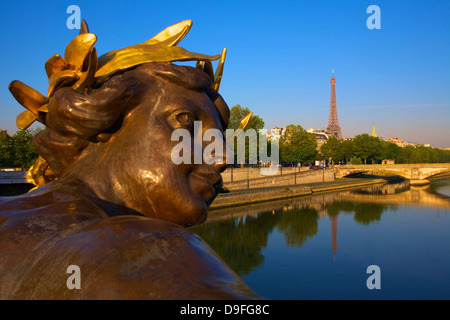 Pont Alexandre III, with Eiffel Tower, Paris, France Stock Photo