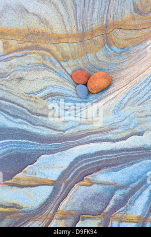 Patterns created by sea erosion on Spittal Beach, Berwick-upon-Tweed, Northumberland on border between England and - Stock Photo