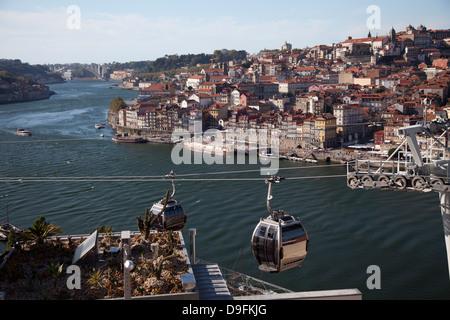 River Douro and old town of Ribeira, Porto, Portugal - Stock Photo