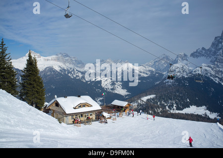 A mountain restaurant at the Civetta ski resort in the Dolomites, South Tyrol, Italy - Stock Photo
