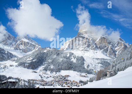 A view toward Corvara and Sassongher Mountain from the ski resort of Alta Badia in the Dolomites in the South Tyrol, - Stock Photo