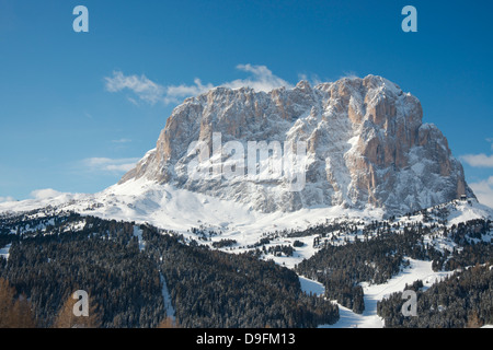 A winter view of Sassolungo Mountain in the Dolomites in the South Tyrol, Italy - Stock Photo