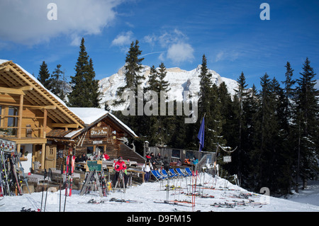 A mountain restaurant at the Alta Badia ski resort in the Dolomites in the South Tyrol, Italy - Stock Photo